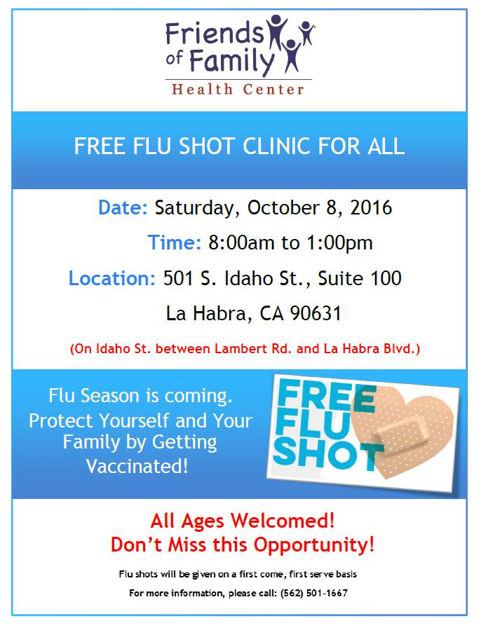 Flu Vaccine Flyers Free: FREE Flu Shot Clinic On Saturday, October 8th In La Habra, CA